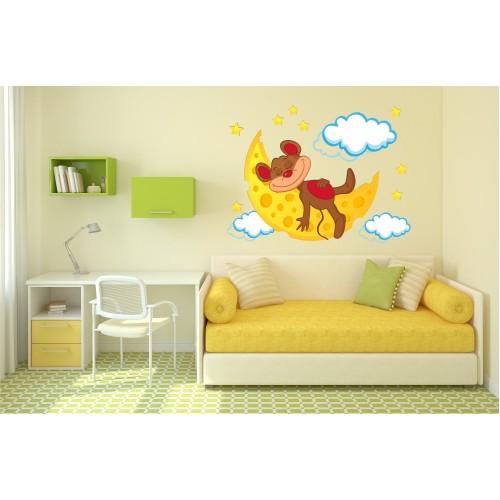Стикер за детска стая Мишо и Луната модел 20524