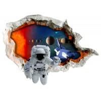 Стикери за стена на детска стая 3D космос планети астронавт совалка Модел 20583