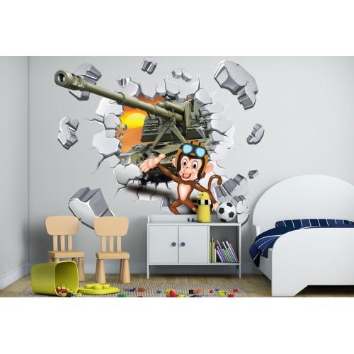 Стикери за стена на детска стая 3D маймунка танкист Модел 20606