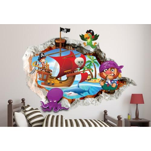 Стикери за стена на детска стая 3D Пирати Модел 20673