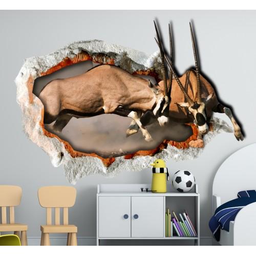Стикери за стена на детска стая 3D Антилопи  Модел 20677
