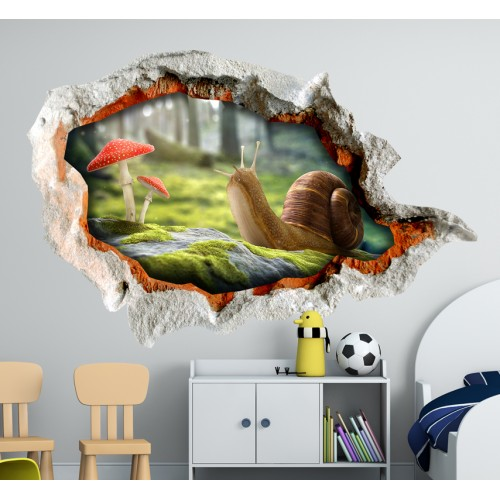 Стикери за стена на детска стая 3D охлюв  Модел 20678