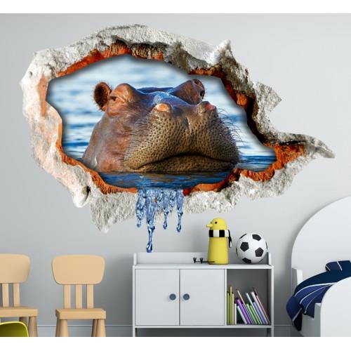 Стикери за стена на детска стая 3D хипопотам  Модел 20679