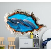 Стикери за детска стая 3D Делфини  Модел 20683