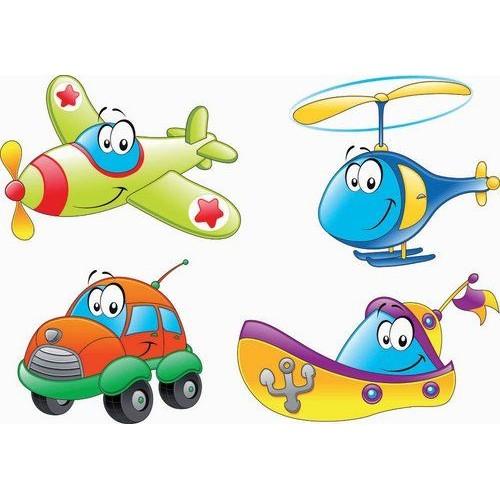 Стикери за детска стая Самолет кола кораб и вертолет 20124