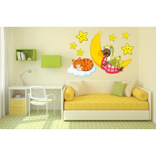 Стикери за стена на детска стая Мечо Писана и Луната Модел 20137