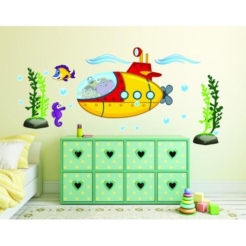 Стикери за стена на детска стая Хипо Маймунката и Шаро на подводница Модел 20139