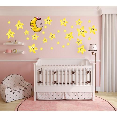 Стикери за стена на детска стая звездички и луна 20135