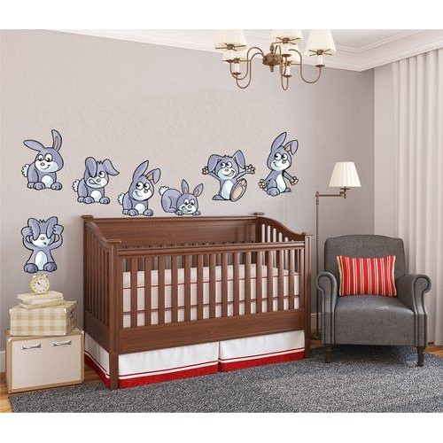 Стикери за детска стая модел 20014 сет Зайчета игриви
