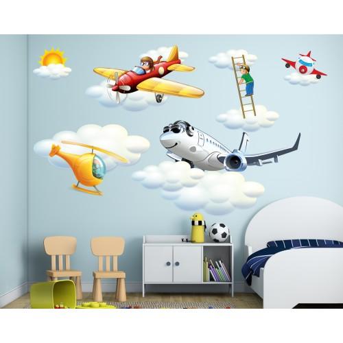 Стикери за детска стая комплект авиация самолет въртолет и пилот в облаците модел 20096