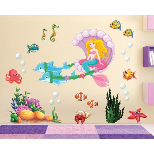 Стикери за стена на детска комплект русалка с каляска  с делфини и рибки Модел 20138