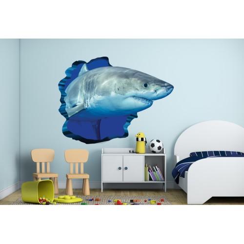 Стикери за стена на детска стая 3D Акула  Модел 20553