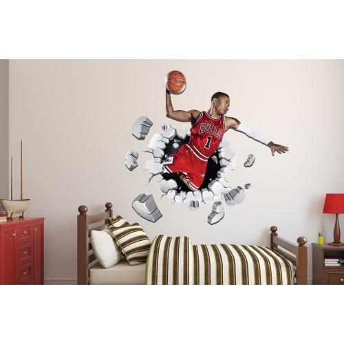 Стикери за стена на детска стая 3D Баскетболист  Модел 20563