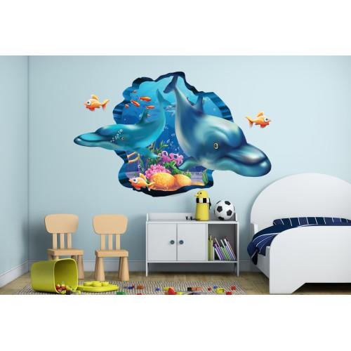Стикери за стена на детска стая 3D Делфини Модел 20568