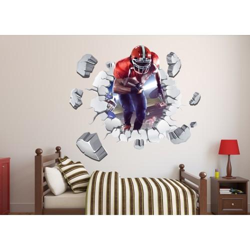 Стикери за стена на детска стая 3D Американски футболист Модел 20571