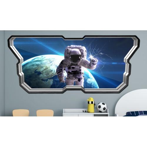 Стикери за стена на детска стая  Модел 20596 прозорец планети астронавт