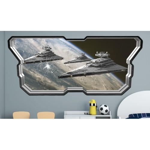 Стикери за стена на детска стая  Модел 20598 прозорец планети космически кораби