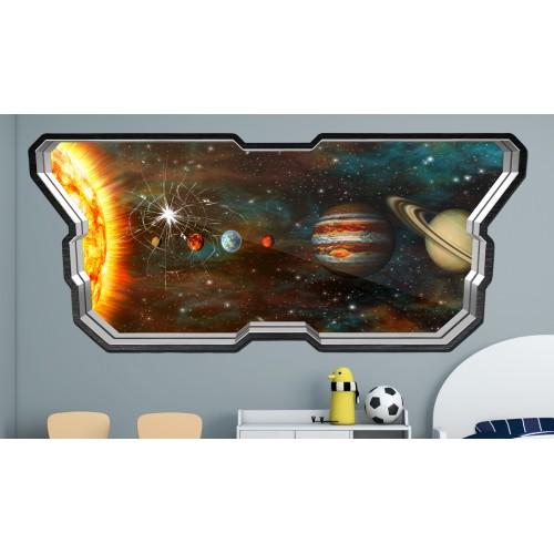 Стикери за стена на детска стая  Модел 20602 прозорец планети слънчева система