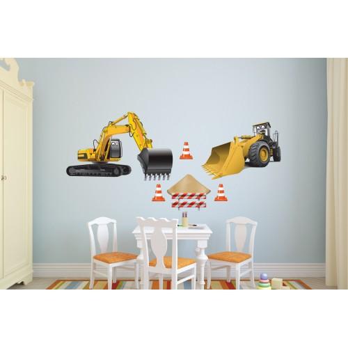 Стикери за стена на детска стая Строителна Техника  Модел 20612