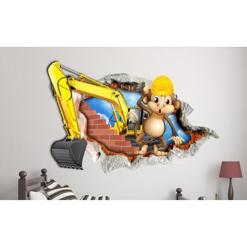 Стикери за стена на детска стая Маймунка строител Модел 20614