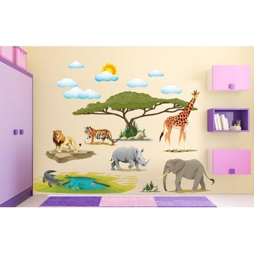 Стикери за стена на детска стая животните на Африка  Модел 20619