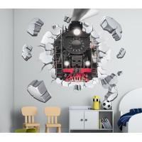 Стикери за стена на детска стая 3D локомотив през стената Модел 20648
