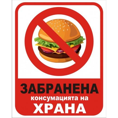 Табела или стикер Забраненa консумацията на храна модел 24162