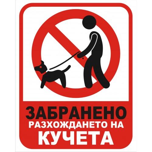 Табела или стикер Забраненa разхождането на КУЧЕТА модел 24191
