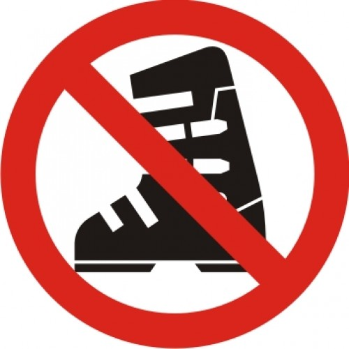 Табела  Забранено влизането със Ски обувки модел 24201