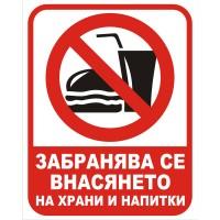 Табела или стикер ЗАБРАНЕНО внасянето на храни и напитки модел 24289