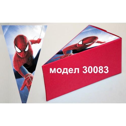 Парченце от Хартиена торта Модел 30083 не сглобена червена кутийка с картинка на Спайдър мен