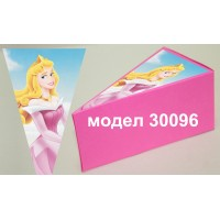 Парченце от Хартиена торта Модел 30096 не сглобена розова кутийка с картинка на принцеса
