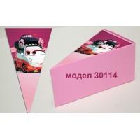 Парченце от Хартиена торта Модел 30114 не сглобена розова кутийка с картинка колите
