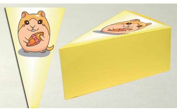 Парченце от Хартиена торта Модел 30242 не сглобена бледо жълта кутийка с картинка мишок
