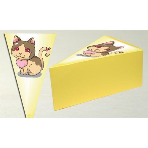 Парченце от Хартиена торта Модел 30243 не сглобена бледо жълта кутийка с картинка коте