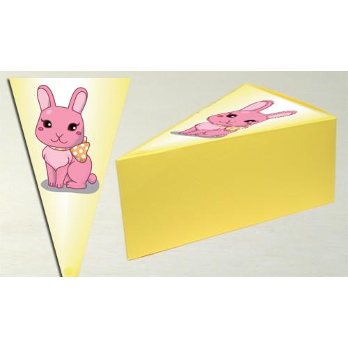 Парченце от Хартиена торта Модел 30244 не сглобена бледо жълта кутийка с картинка заиче