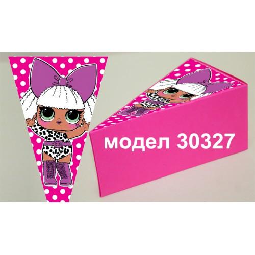Парченце от Хартиена  торта модел 30327 не сглобена розова кутийка с картинка ЛОЛ