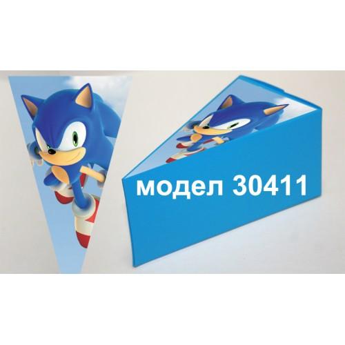 Парченце от Хартиена  торта Модел 30411 не сглобена синя кутийка с картинка Соник