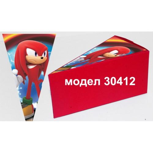 Парченце от Хартиена  торта Модел 30412 не сглобена червена кутийка с картинка Соник