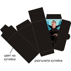 Парченце от Хартиена торта Модел 30448 не сглобена черна кутийка с картинка хотел Трансилвания