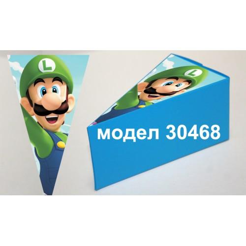 Парченце от Хартиена  торта  Модел 30468 не сглобена синя кутийка с картинка от Супер Марио