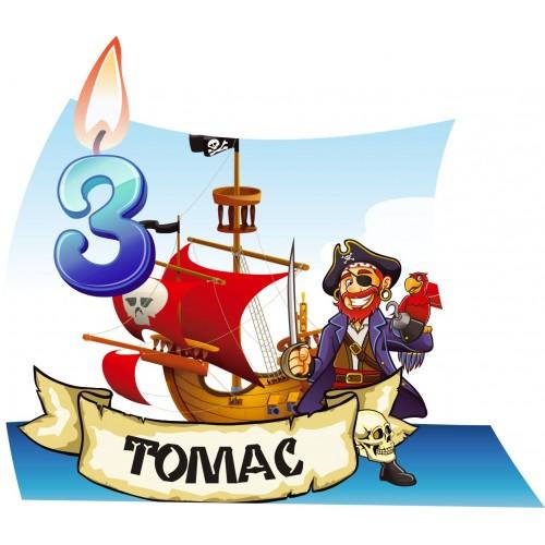 Банер с името и годинките за Пиратска Хартиена торта Модел 30195