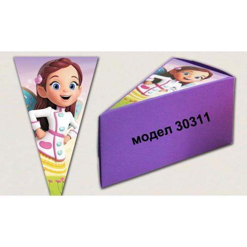 Парченце от Хартиена  торта модел 30311 лилава кутийка с картинка не сглобени