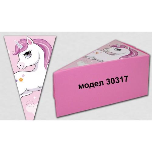 Парченце от Хартиена  торта Модел 30317 не сглобена розова кутийка с картинка Еднорог