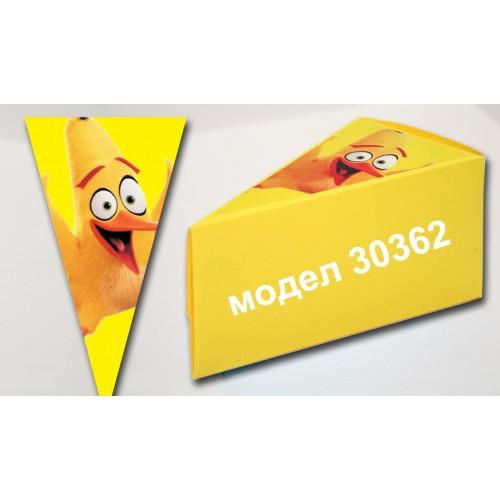 Парченце от Хартиена торта модел 30362 не сглобена жълта с картинка Енгри Бърдс