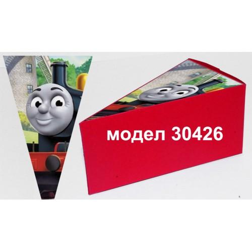 Парченце от Хартиена  торта Модел 30426 не сглобена червена кутийка с картинка  влакчето Томас