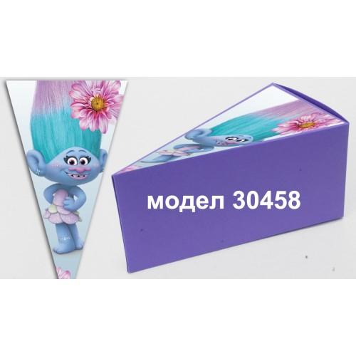 Парченце от Хартиена  торта Модел 30458 не сглобена лилава кутийка с картинка тролчета