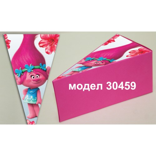 Парченце от Хартиена  торта Модел 30459 не сглобена розова кутийка с картинка тролчета