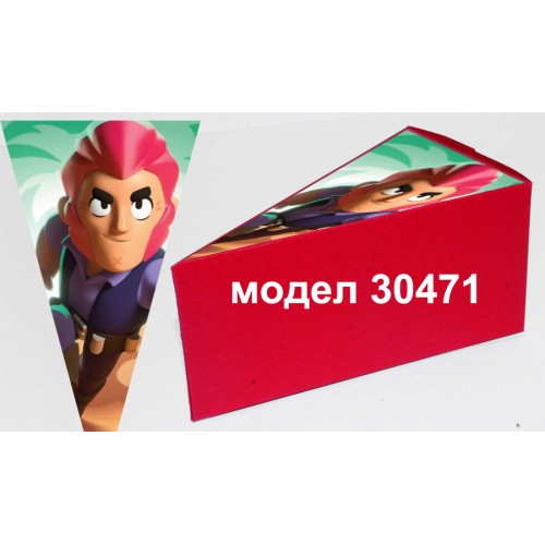 Парченце от Хартиена  торта  Модел 30471 не сглобена червена кутийка с картинка Брол Старс
