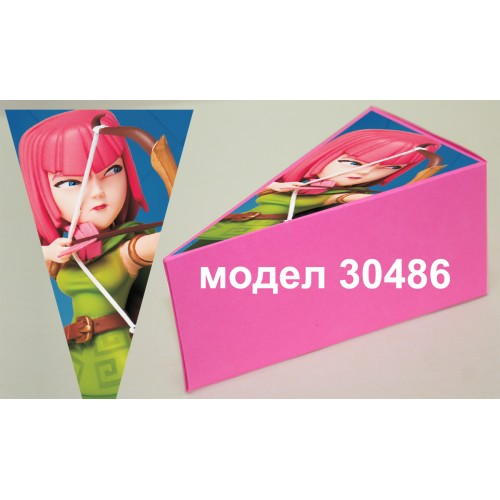 Парченце от Хартиена торта Модел 30486 не сглобена розова кутийка с картинка